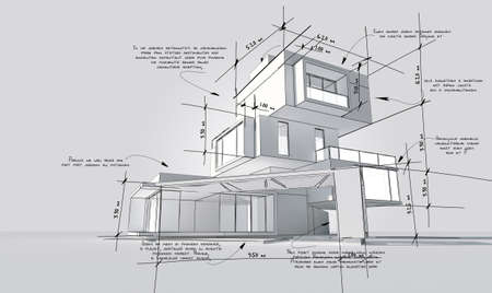 3D rendering of a modern building with construction specifications in dummy text for design purposes