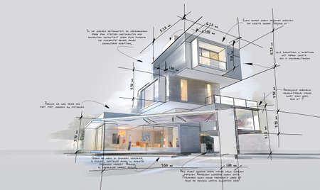 Architecture project showing different design phases, from rough sketch, construction specifications to realistic 3D rendering. The writing is dummy text.