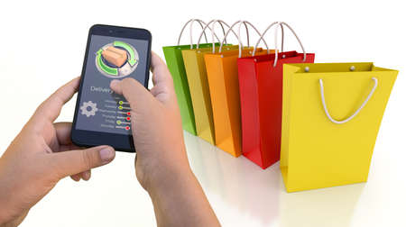 3D rendering of a smartphone app tracking an online purchase 写真素材