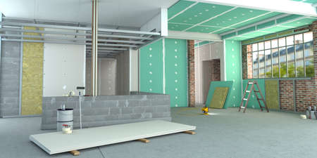 3D rendering of an interior in renovation process Stock Photo