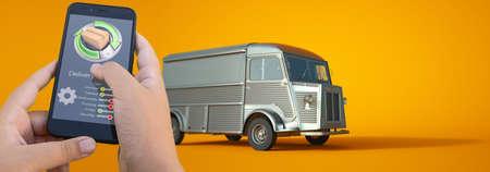 3D rendering of a smartphone logistic app controlling truck transportation