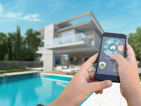 3D rendering of a modern villa with pool controlled by a smartphone from the outside Stock Photo