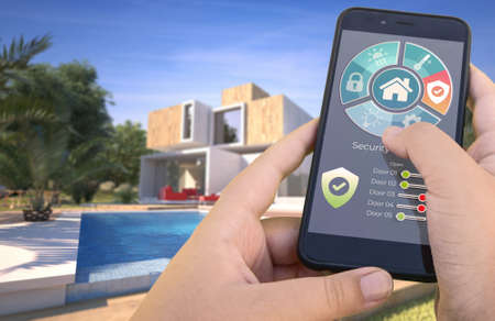 3D rendering of a modern villa with pool controlled by a smartphone from the outside