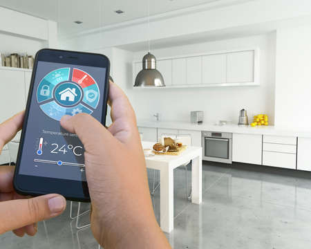 3D rendering of a modern interior controlled by a smartphone app Stock Photo