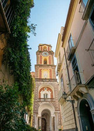 Beautiful belfry in a narrow Neapolitan street