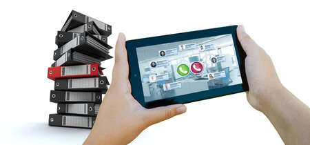 3D rendering of a tablet with a business videocall and a pile of ring binders