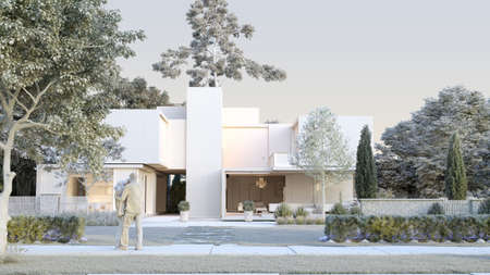 3d rendering of an architecture model of a modern luxurious house and a garden
