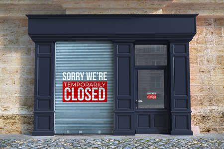 3D rendering of Shop with the blinds down and the sign, sorry we are temporarily closed Stock Photo