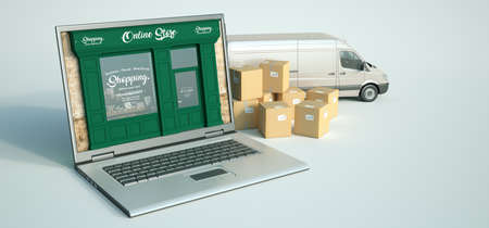 3D rendering of a computer with a traditional shop on the screen and a transportation background