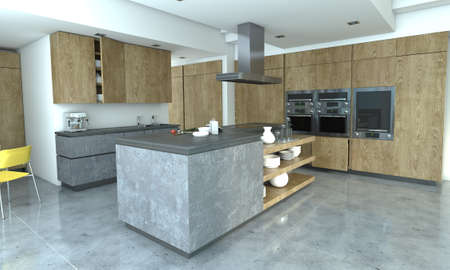 3D rendering of a kitchen in wood and concrete