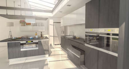3D rendering of an industrial style domestic kitchen integrated in the house with glass roof on dark gray
