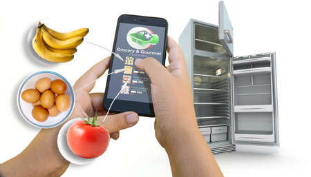 3D rendering of an app for grocery shopping and an empty fridge