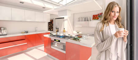 Young woman drinking coffee in a modern red kitchen