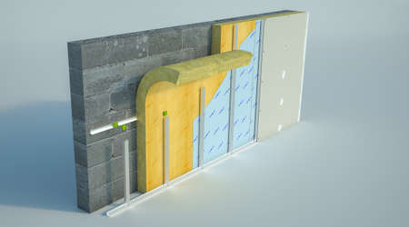 3D rendering of a wall with construction details and layers 免版税图像