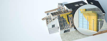 3D rendering of a home under construction and  wall insulation construction technical details