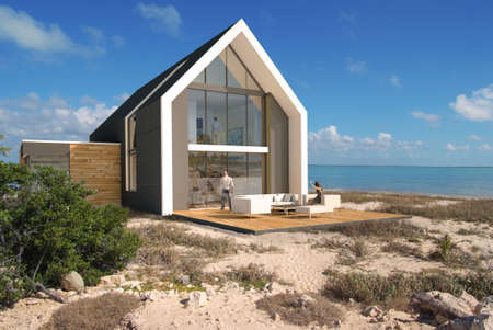 3D rendering of a big contemporary house on a beach Stock Photo