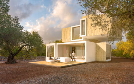 3D rendering of a big contemporary house surrounded by olive trees Standard-Bild