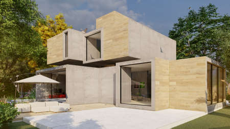 3D rendering of a big contemporary house with  garden and exterior sitting area