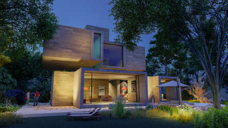 3D rendering of a big contemporary house with  big beautiful garden at dusk