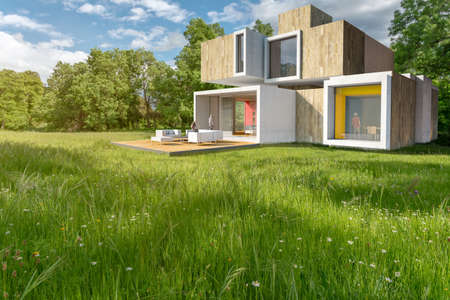 3D rendering of a big contemporary house in the countryside Standard-Bild