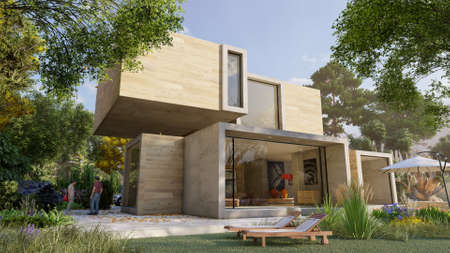 3D rendering of a big contemporary house with  big beautiful garden