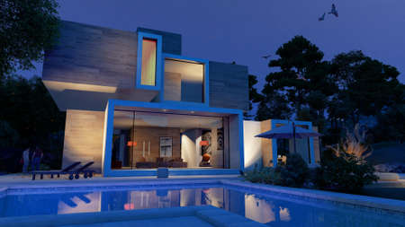 3D rendering of a big contemporary house with  a swimming pool and a beautiful garden at dusk Standard-Bild