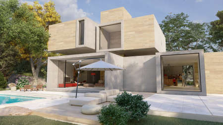 3D rendering of a big contemporary house with a swimming pool and a beautiful garden Standard-Bild