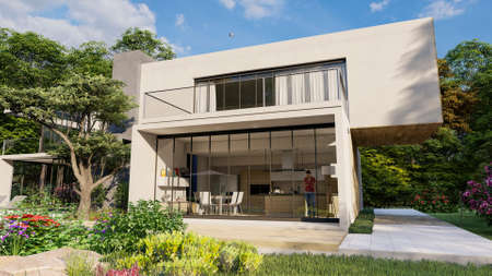 3D rendering of a big contemporary villa with impressive garden and pool, external view overlooking the kitchen