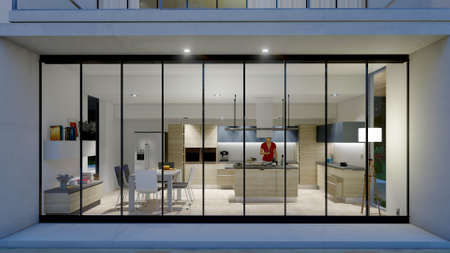 3D rendering of a modern kitchen with a model dummy seen from the exterior