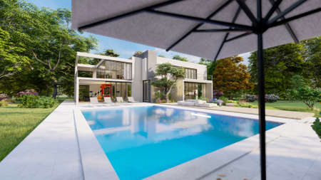 3D rendering of a big contemporary villa with impressive garden and pool