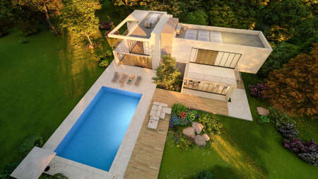 3D rendering of a big contemporary villa with impressive garden and pool, aerial view at sunset