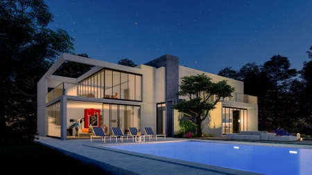 3D rendering of a big contemporary villa with impressive garden and pool with evening lighting