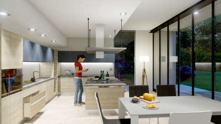 3D rendering of a kitchen interior with a model dummy in a modern villa Standard-Bild