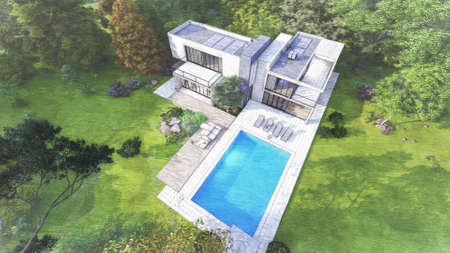 3D rendering of a big contemporary villa with impressive garden and pool, aerial view with a color pencil style