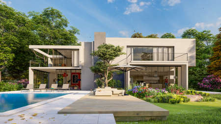3D rendering of big contemporary villa with pool and garden