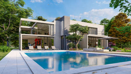 3D rendering of a big contemporary villa with impressive garden and pool, external view overlooking the living room