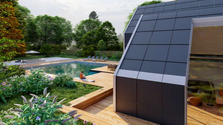3D rendering of a modern  pitched roof villa with impressive garden and pool