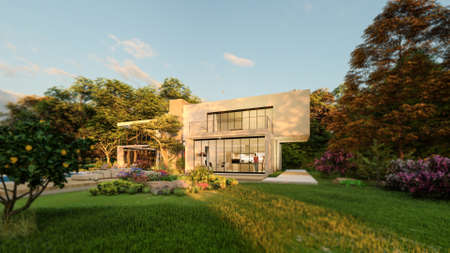 3D rendering of a big contemporary villa with impressive garden and pool at sunset