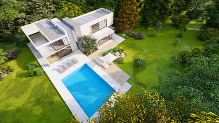 3D rendering of a big contemporary villa with impressive garden and pool, aerial view Standard-Bild