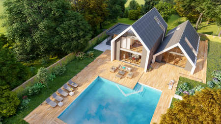 3D rendering of a modern  pitched roof villa with impressive garden and pool, aerial view