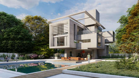 3D rendering of a modern luxurious house with a lounge area by the pool Standard-Bild