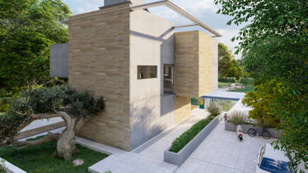 3D rendering of the back yard of a cubic house with pool and garden