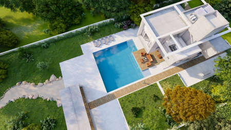 3D rendering, Aerial view of a modern luxurious house with a lounge area by the pool