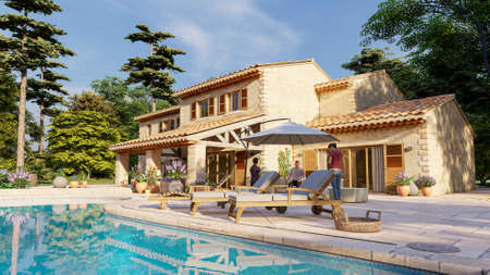 3D rendering of a Mediterranean style villa with pool and garden Standard-Bild