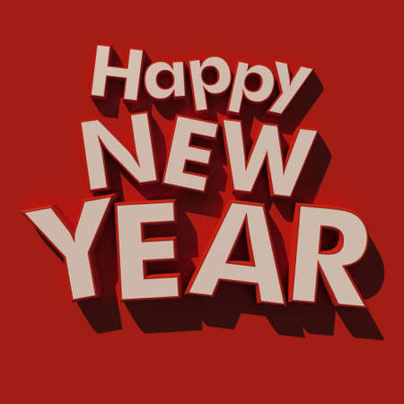 3D rendering of the writing Happy New Year  in white on a red background