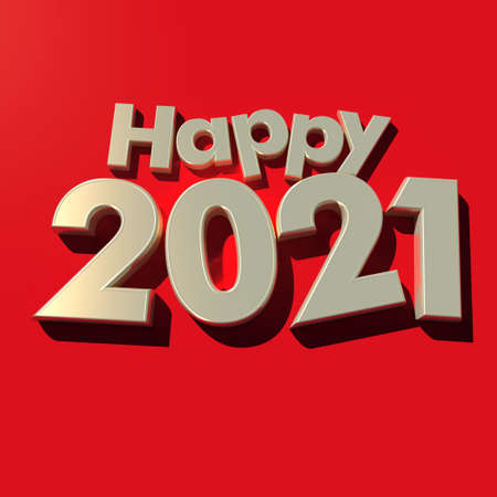 3D rendering of the writing Happy 2021 in golden letters on a red background
