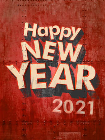 Happy New Year 2021 in white letters on a red grunge industrial background 3D rendering