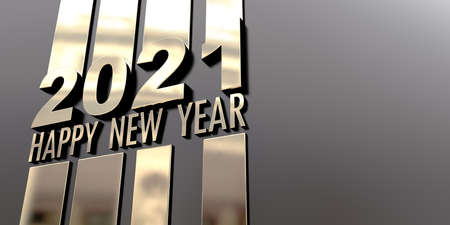 3D rendering of the writing Happy New Year 2021 in a mirror golden surface on a black background