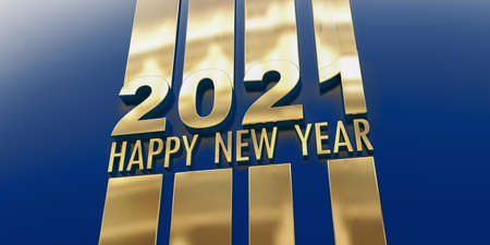 3D rendering of the writing Happy New Year 2021 in a mirror golden surface on a blue background