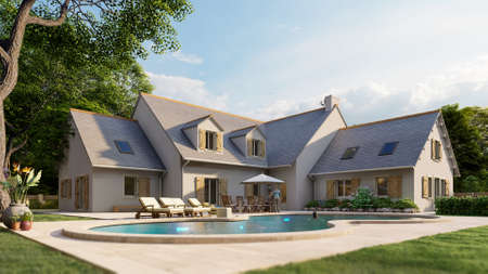 3D rendering of a classical house with pool and garden Standard-Bild